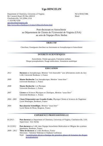 Ugo HINCELIN - Laboratoire d'Astrophysique de Bordeaux