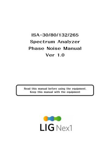 ISA-30/80/132/265 Spectrum Analyzer Phase Noise Manual ... - Protel