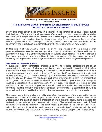 the Monthly Newsletter of the Arts Consulting Group September ...