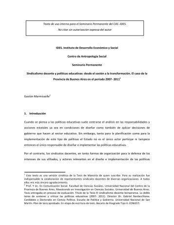 Sindicalismo docente - Centro de Antropología Social - IDES