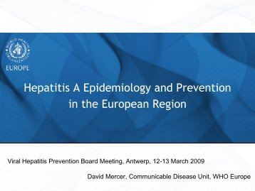 Hepatitis A Epidemiology and Prevention in the european region