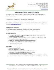 SA SCHOOLS SEVENS ASSISTANT COACH - SuperSport