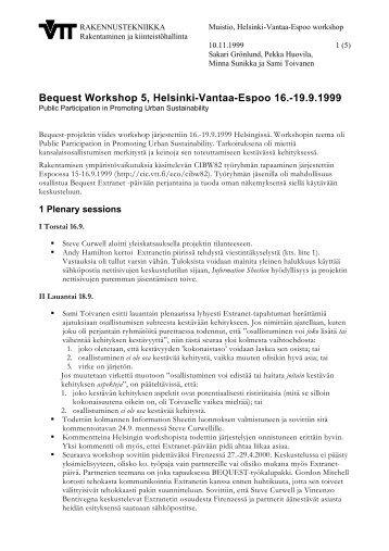 Bequest Workshop 5, Helsinki-Vantaa-Espoo 16. - Construction IT ...