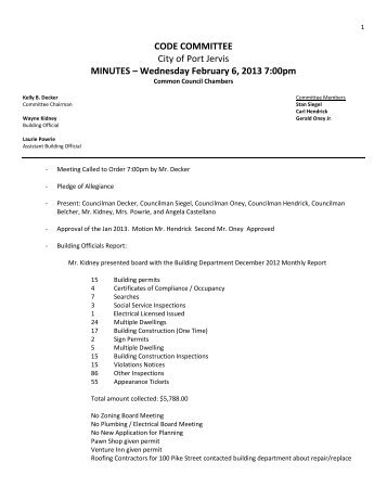 Code Committee Minutes 2/6/2013 - City of Port Jervis New York