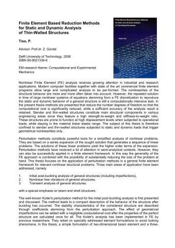 Finite Element Based Reduction Methods for Static and Dynamic ...