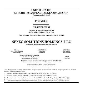 March 5, 2013 - 8-K - Nexeo Solutions