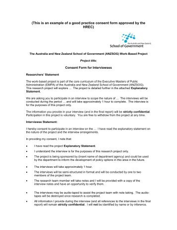 (This Is An Example Of A Good Practice Consent Form Approved By The .