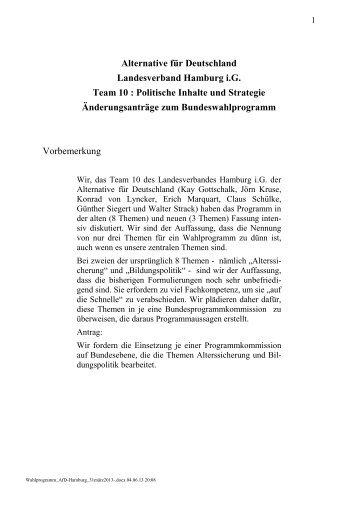 Alternative für Deutschland Landesverband Hamburg i.G. Team 10 ...