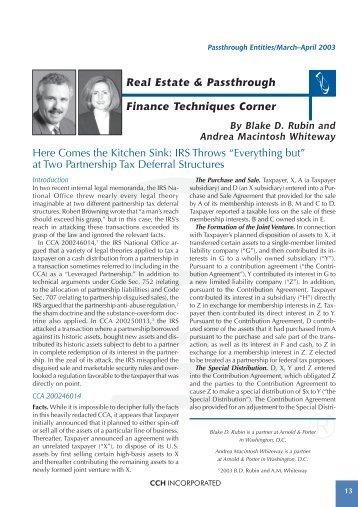 Real Estate & Passthrough Finance Techniques Corner Here ...
