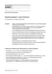 Repetitionsaufgaben: Lineare Funktionen