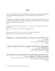 BIBLIOGRAPHY TO EARLY MARCH 2007 - Dovid Katz
