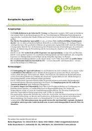 Position von Oxfam Deutschland zur EU-Agrarreform 2013