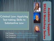 Academic Support: SKILLS W orkshop Series - Whittier Law School