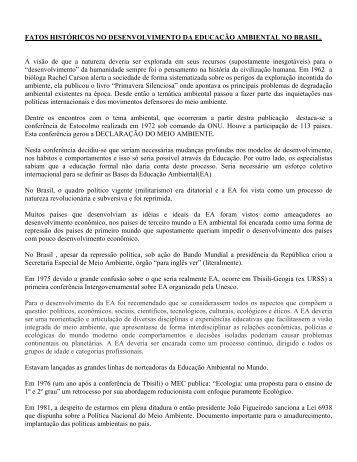 istória da ed. ambiental no Brasil/Prof. Jairo Matozinho - Jairo J ...
