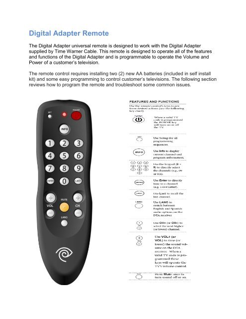 Digital Adapter Remote - Time Warner Cable