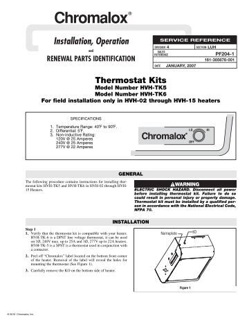 heating element thermostatic head 3 phase ambient instal hvh thermostat installation manual 1