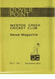 1 - Weston Creek Cricket Club