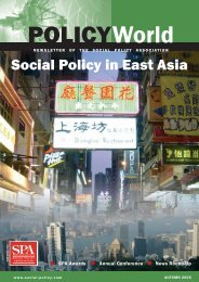 Autumn 2006: Social Policy in East Asia - UK Social Policy Association