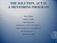 the solution, act ii: a mentoring program - University of Louisiana ...