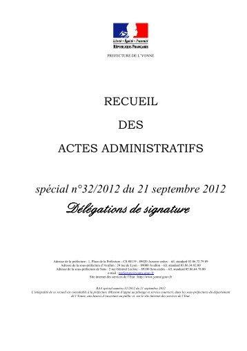 Recueil n°32 du 21 septembre 2012 - Préfecture de l'Yonne