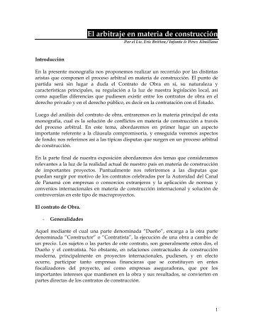El arbitraje en materia de construcción - Infante & Pérez Almillano