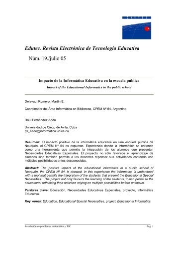 Edutec. Revista Electrónica de Tecnología Educativa Núm. 19./julio 05