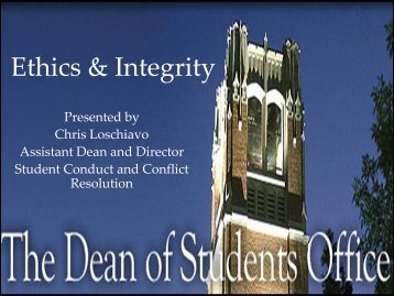 Ethical Decision Making Seminar - Dean of Students Office ...