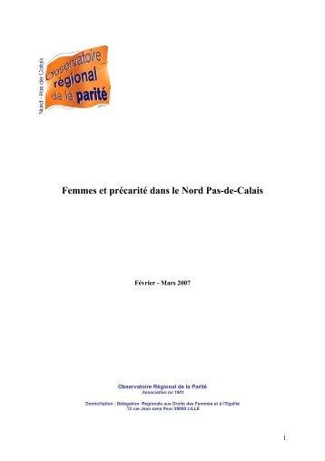 Femmes et précarité dans le Nord Pas-de-Calais - Egalité - Mixité