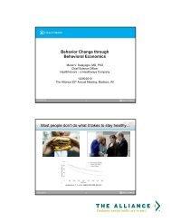 Behavior Change through Behavioral Economics ... - The Alliance