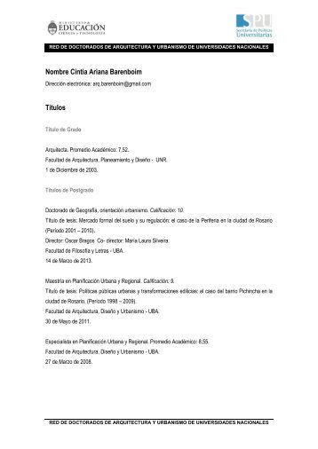 Dra. Arq. Cintia Barenboim - Facultad de Arquitectura, Planeamiento ...