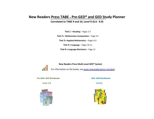 New Readers Press TABE Pre GED And GED Study Planner