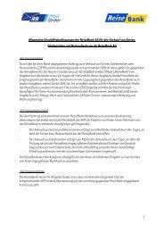 Allgemeine Geschäftsbedingungen der ReiseBank AG
