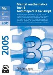 Mental mathematics Test B Audiotape/CD transcript 2005 - Emaths