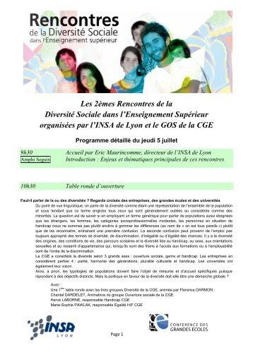 Programme des Rencontres de la Diversité Sociale dans l ...