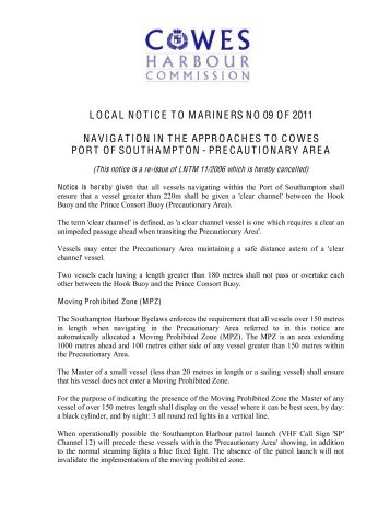 LOCAL NOTICE TO MARINERS NO 09 OF 2011 ... - Cowes Online