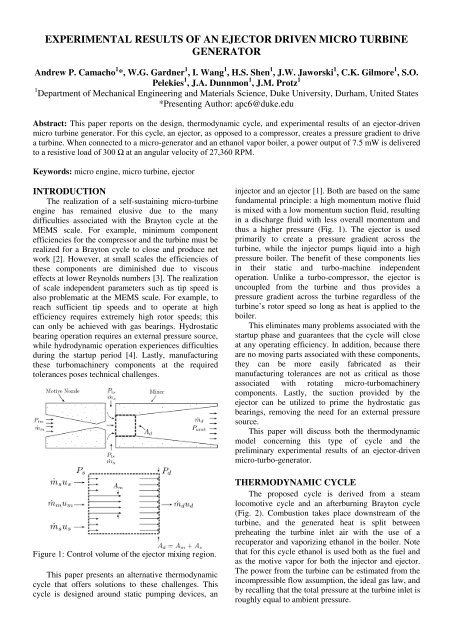 Experimental Results of an Ejector Driven Micro Turbine