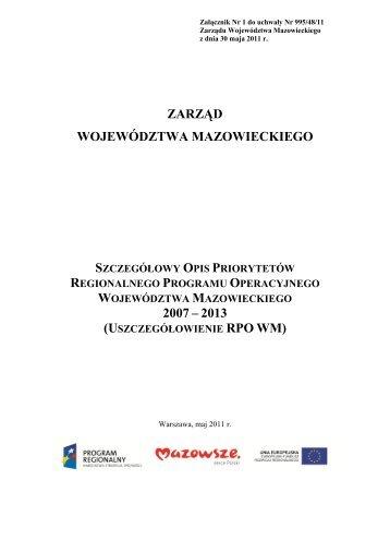Szczegółowy Opis Priorytetów RPO WM 2007-2013 - Mazowiecka ...