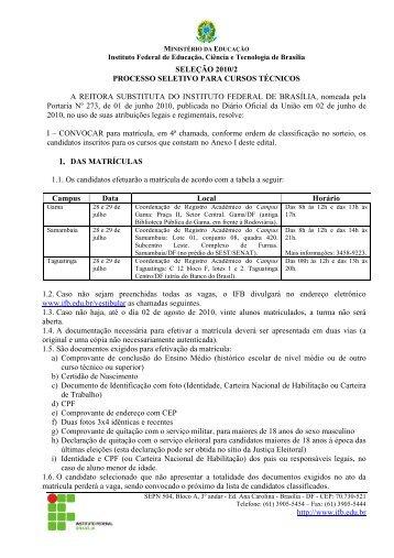 Edital Técnicos IFB 2010-02 Resultado Sorteio 4a chamada Demais ...