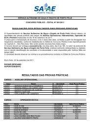 RESULTADOS DAS PROVAS PRÁTICAS - Instituto Mais