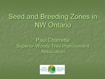 Seed and Breeding Zones in NW Ontario