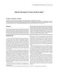 Selective biosorption of heavy metals by algae*