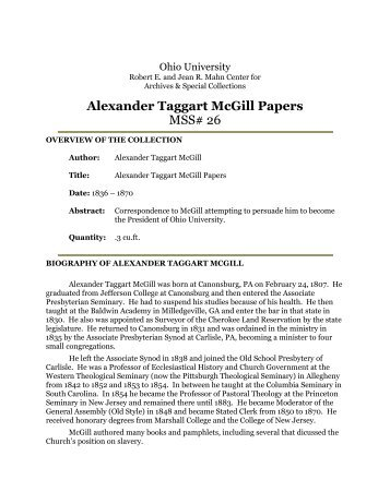 Alexander Taggart McGill Papers MSS# 26 - OHIO University Libraries