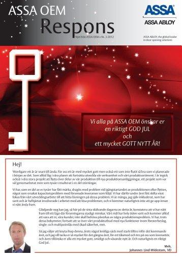 Klicka här för att öppna en pdf av vårt senast nyhetsbrev - ASSA OEM