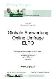 Globale Auswertung Online Umfrage ELPO - Www3.datacomm.ch