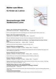 für Kinder ab 2 Jahren Neuerwerbungen 2009 Stadtbücherei Lünen