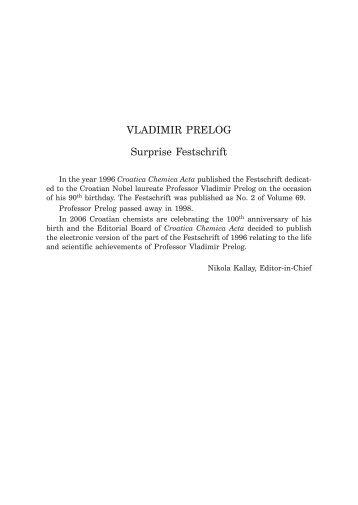 VLADIMIR PRELOG Surprise Festschrift