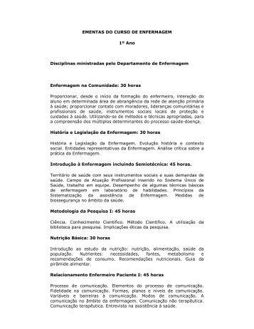EMENTAS DO CURSO DE ENFERMAGEM 1º Ano Disciplinas ...