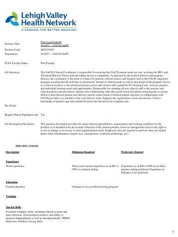 Jd611 Food Service Coordinator Job Description - Derby Public