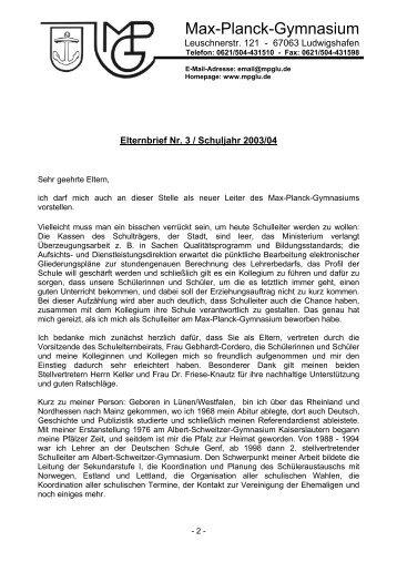 Elternbrief Nr. 3 - Schuljahr 2003/04 - Max-Planck-Gymnasium
