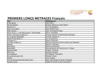 PREMIERS LONGS METRAGES Français - Semaine de la Critique